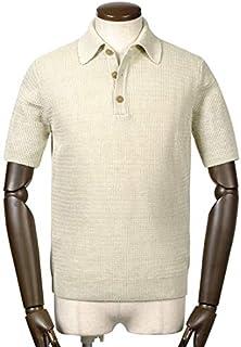サンモリッツ S.MORITZ / 19SS!リネンハイゲージワッフル編み半袖ニットポロシャツ『A39621』 (エクリュ) メンズ
