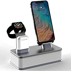 CNC aluminum alloy charging station with integrated dual wireless chargers for cell phone and iwatch. The charging station also has 2 lightning ports which allow for direct charging of iphone and airpods. Integrated power supply provides power to all...