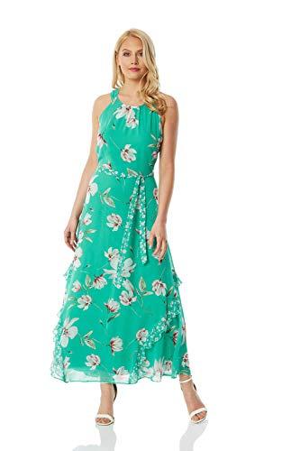 Roman Originals Vestido midi con estampado floral para mujer, cuello halter, sin mangas, estampado, elegante, informal, para fiestas, ocasiones especiales, bodas, invitados Verde verde 44
