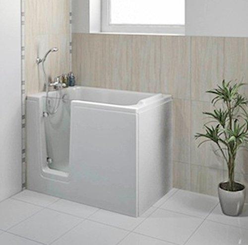Badewanne mit Tür, Seniorenbadewanne 121x65cm mit Wannenschürze und Ablauf/Sifon, Ausführung Links