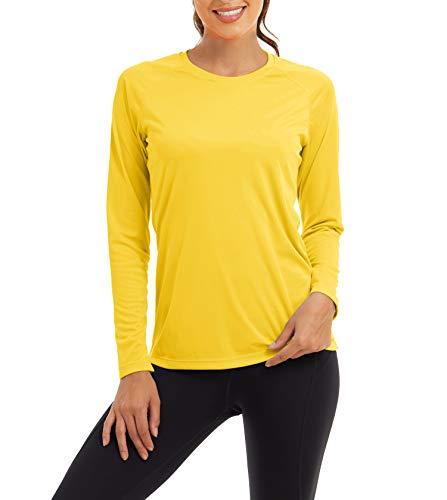 Kefitevd T-shirt fonctionnel à manches longues et séchage rapide pour femme Protection UV UPF 50+ S jaune