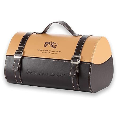 JTRHD Champagner-Box Wein-Geschenk-Kasten PU-Zwei-Flaschen-Speicher-Dekoration for Geburtstags-Party Personalisiertes Jubiläumsgeschenk (Farbe : As Shown, Size : 34.5x22x19cm)