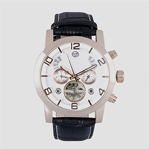 Thumby Praktische Horloges Automatische Mechanische Horloge Mannen Zakelijke Casual Sport Riem Horloge Kleine Cirkel Mannen Arabische Numeralen Pols Decoratieve Horloge Armband Wit Goud