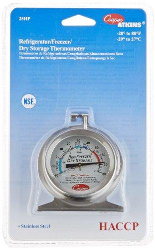 Cooper-Atkins 25HP-01-1 Refrigerator/Freezer Thermometer, NSF HACCP, SS-20/80 Degree F/Degree C