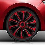 Autoteppich Stylers 15' 15 Zoll Radkappen/Radzierblenden 15' Nr.006 (Farbe Schwarz-Rot), passend für Fast alle Fahrzeugtypen (universal)