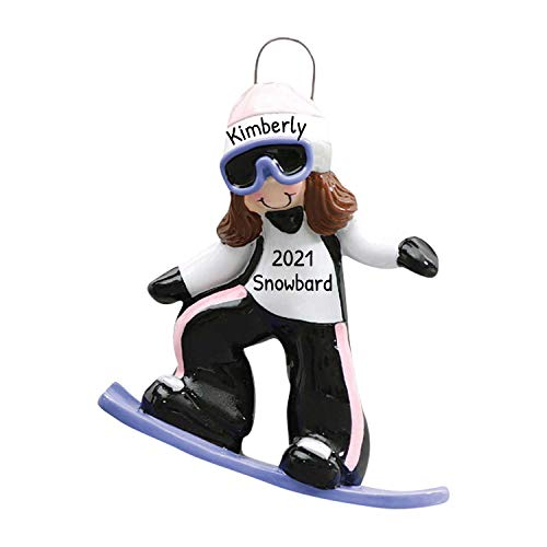 Personalized Snowboard Girl Christmas Tree Ornament 2020 - Brunette Female Athlete Outfit Goggles Downhill Active Winter Game School Teacher Hobby Utah Ride Year Gear Burton - Free Customization