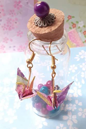 Crane earrings,Pendientes Grullas,Origami Earrings,Japanese earrings,Kimono Earring