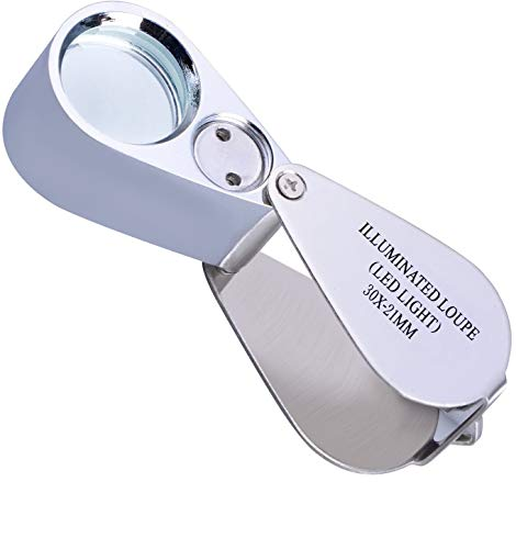 30X Full Metal Jewelry Loop Magnifier,Illuminated Pocket Folding Best Magnifying Glass Jewelers Eye Loupe with LED Light(LED Currency Detecting/Jewlers Identifying Type Lupe)