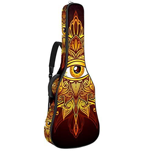 Funda acolchada para guitarra eléctrica, diseño de dragón chino, ojo dorado
