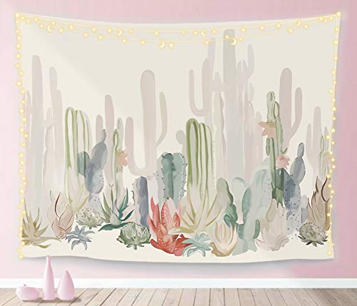Manicer Cactus Tapestry, Colorful Plant Herbs Botanical Tapestry Wall Hanging Nature Scenery Tapestries Art Print Mural for Bedroom Living Room Dorm Home Décor 59.1 x 51.2 Inches