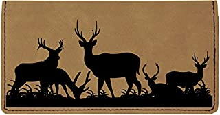 Grazing Deer Laser Engraved Leatherette Checkbook Cover