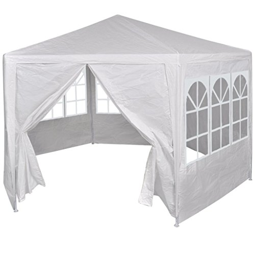 Festnight Gazebo Marquee Party Tent Canopy with 6 Side Walls White 2x2 m