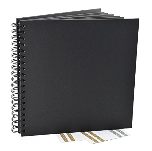 Black Guest Book, Photo Booth Album, Scrapbook, Blank Square Spiral Bound Cardboard Hardcover, 40 Sheets (10 Inches)