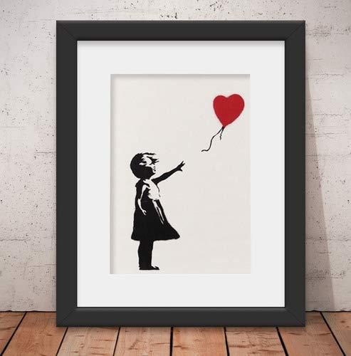 Quadro Decorativo Banksy Menina Com Balão & Vidro + Paspatur 46x56cm Qt03b