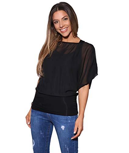 Blusas Camisas Mujer Elegante Grande Top Bonita Fiesta Transparente Juvenil Tallas Grandes Fiesta Moda, (Negro (3559), 46 EU (18 UK)), 3559-BLK-18