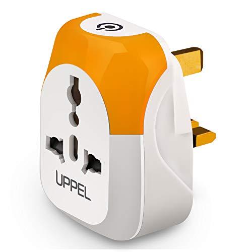 Adaptateur de Voyage UK Type G avec veilleuse à 3 Modes à LED, Prise Multiple Adaptateur de Voyage dans Le Monde Entier vers Le Royaume-Uni, Écosse (Blanc Chaud)