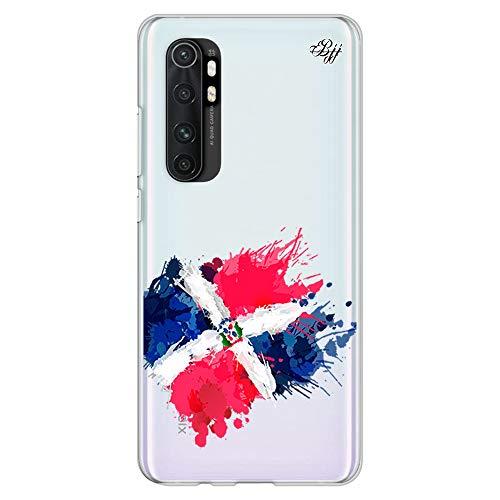 BJJ SHOP Funda Slim Transparente para [ Xiaomi Mi Note 10 Lite ], Carcasa de Silicona Flexible TPU, diseño : Bandera Republica Dominicana, Pintura de brocha