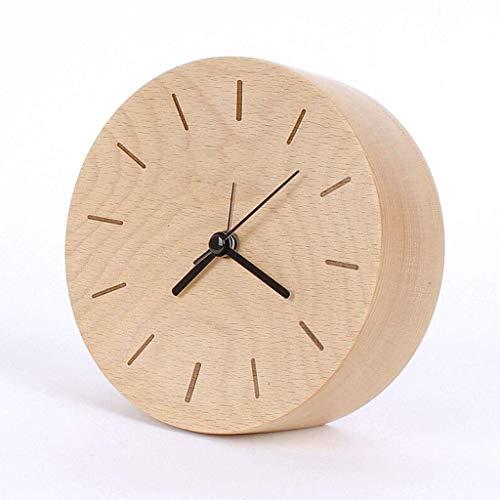 ZCZZ Reloj de Mesa Reloj Despertador de Madera, Reloj Creativo cóncavo de Haya, Reloj de Cama para niños y Estudiantes, Reloj de Mesa para decoración de Escritorio