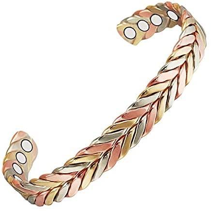 Funmaker Bracelets en cuivre pour homme et femme pour l'arthrite avec 8 aimants puissants 16,5 cm