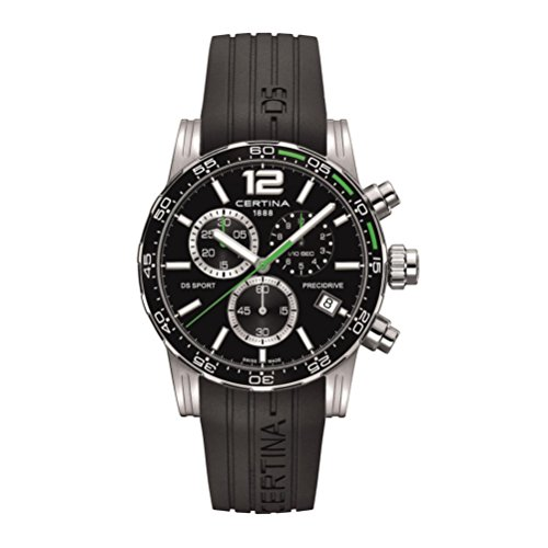 Certina DS Sport Chronograph Black Dial Black Rubber Mens Watch C027.417.17.057.01