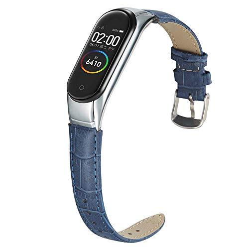 Miimall Pulsera de Reloj Compatible con Xiaomi Mi Band 5,  Cuero Premium con Marco Metal Correa de Respuesto de Reloj para Xiaomi Mi Band 5 -  Azul