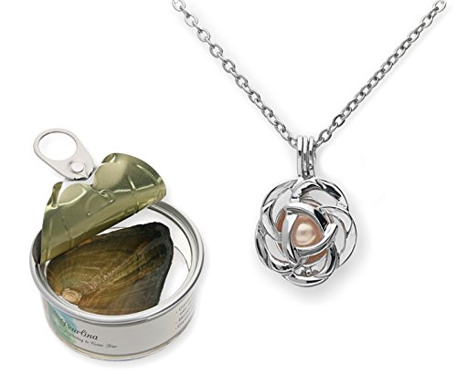 Pearlina Rose Flower Cultured Pearl Oyster Necklace Set Silver Plated Pendant w/Stainless Steel Chain 18'
