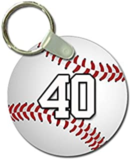 TYD Designs Key Chain Sports Baseball Customizable 2 Inch Metal and Fully Assembled Ring with Any Team Jersey Player Number