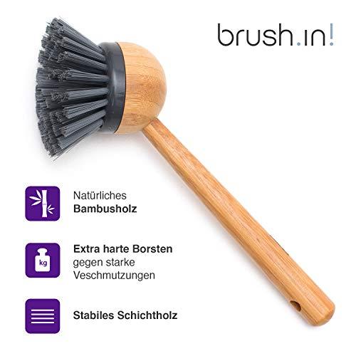 Sanni Shoo Brush.in – Spülbürste aus Schichtholz, Küchenbürste, Topfbürste, Geschirrbürste, Bürste aus Holz in puristischem Design