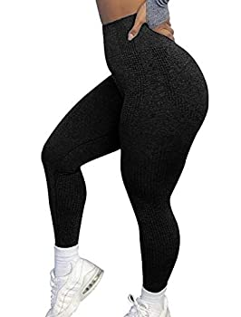 CFR Women High Waist Yoga Pants Dot Contouring Vital Seamless Leggings #0 Black S
