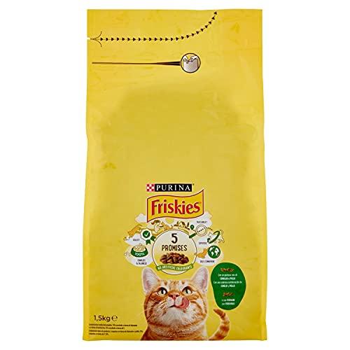 Purina Friskies Pienso para Gato Adulto Conejo, Pollo y Verduras 1,5 Kg