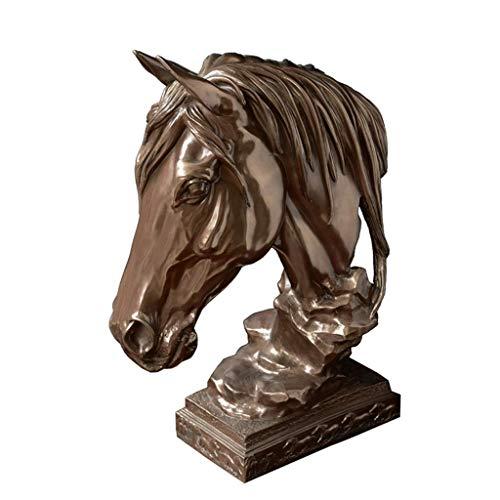 APAN Imitation Copper Horse Sculpture Decorative Tabletop Horse Head for Wedding Home Party Favor-h40cm