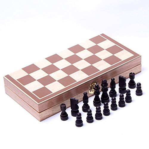 International Chess Folding Magnetic Wooden Chess Set Portable Travel Wooden Board Games Chess Set for Kids and Adults
