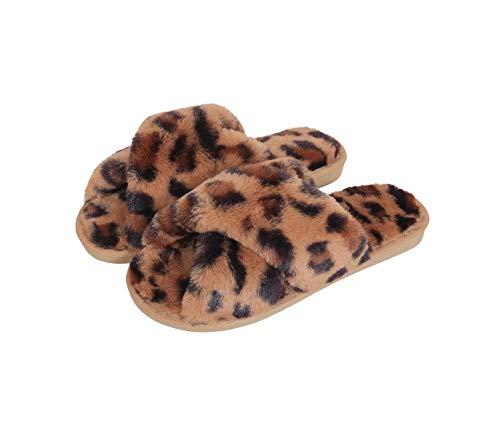 DomoWin Damen Hausschuhe Plüsch Schlappen Tierpantoffeln Leopard Stylische Latschen, rutschfest Sommer Winter Hausschuhe für Damen Indoor Outdoor