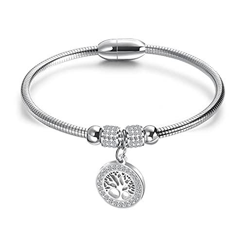 1 pulsera redonda con imán de cuentas de acero inoxidable y diamantes
