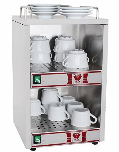 Beeketal 'BTW-2' Profi Gastro Tassenwärmer elektrisch für bis zu ca. 72 Tassen (je nach Tassengröße), 2 Fächer getrennt regelbar, konstante Wärme mit nur 2 x 70W, (B/T/H): ca. 320 x 320 x 550 mm