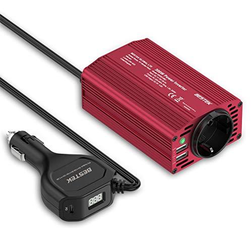 BESTEK Inversor de Corriente 300W para Coche con Cargador de Coche USB-PD 18W, Transformador 12V a 220V con 2 Salidas USB 1 AC Toma y Encendedor, Convertidor Onda Sinusoidal con Protección para Coche