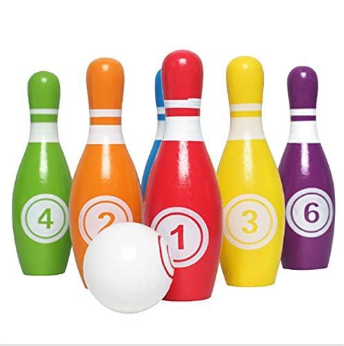 HDZW Hölzerne Kinder Bowling-Set für Erwachsene Dekompressions-Spaß-Spiel Tragbares Elternkind Interaktives Outdoor-Sportspielzeug Kinder 6.9 (Color : 1 Set)