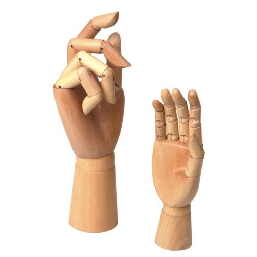 2 Assorted Size Large & Small Wooden Hand Artist Drawing Manikin Jointed Mannequin