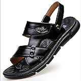 SHENAISHIREN Sandali da Uomo Summer Sandali in Vera Pelle Morbida Scarpe Traspiranti Designer Sandali Spiaggia Sandali da Uomo Sandali Pantofole (Color : Black, Size : 44)