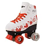 Roller Skates for Girls Size Red Hearts for Toddler Kids Women Derby Light Quad with Adjustable Lace System Outdoor rollerskates Girl Rollerblades Indoor (White and Red, 8 Adult)