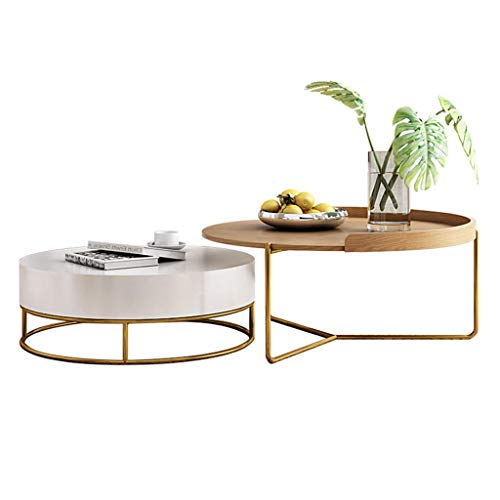 Modern Living Room Coffee Table with Drawer Storage, Round Nesting Side Table Sofa End Tables Sets, with Wood Desktop, Nordic Designer Furniture