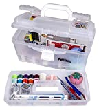 ArtBin 6918AH Twin Top 17 inch Supply Box, Portable Art & Craft Supply Organizer with Handle, [1] Plastic Storage Case, Translucent,Clear