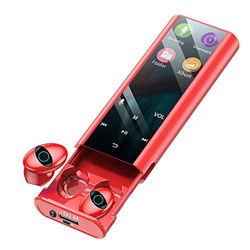 Auriculares Inalámbricos Bluetooth + MP3, 2 IN1 Auriculares De Oído, Reproductor De Música, Caja De Carga De 6000Mah,Reducción De Ruido Inteligente, con Podómetro, Libro Electrónico,Rojo