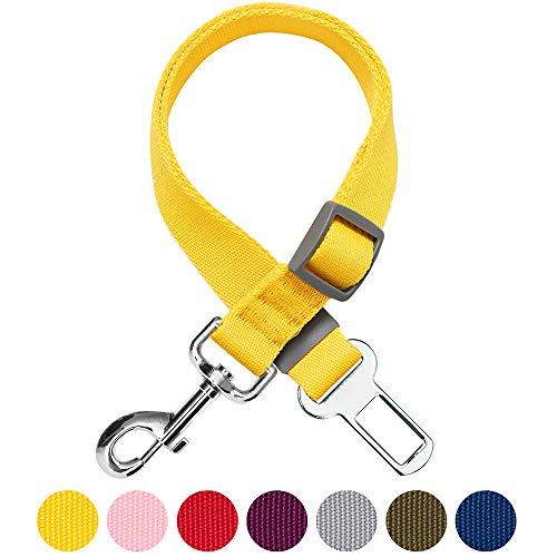 Umi. by Amazon - Classic - Cinturón de seguridad para perros ajustable, resistente y seguro; debe usarse con arnés (amarillo)