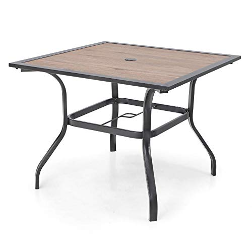 """PHI VILLA Patio Dining Table 37"""" x 37"""" Outdoor Dining Furniture Umbrella Table with 1.57"""" Umbrella Hole, Steel Frame with Premium PVC Table Top for Lawn Garden"""