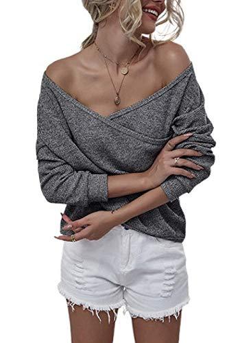Sudadera de Color sólido para Mujer, Cuello en V, Manga Larga, Abrigo Informal, suéter Superior