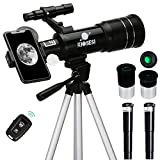 KIOSESI Telescope for Adults & Kids, 70mm Aperture 400mm Refractor Telescope (20X-200X) for Astronomy Beginners, Portable Telescope with Phone Adapter & Wireless Remote, Astronomy Gifts for Kids