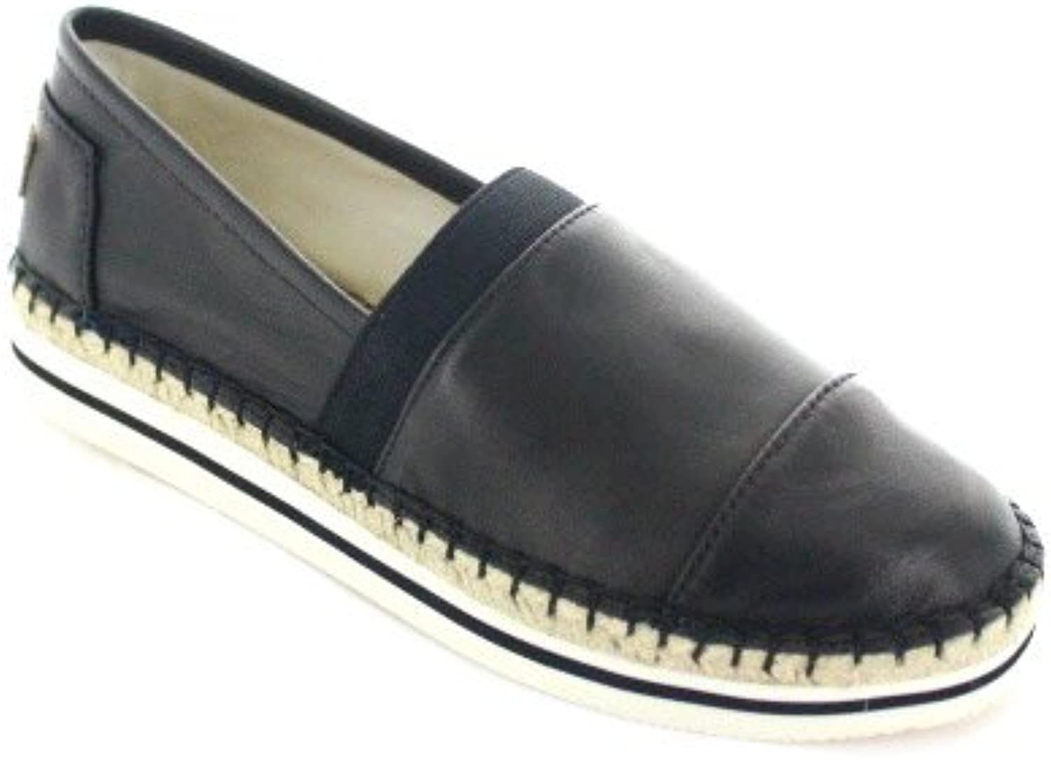 Joy & Mario Women's Black Leather Loafer Flats shoes Espadrille 51028W