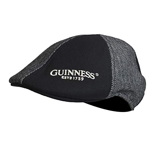 Guinness Grey and Black Panelled Ivy Cap with Embroidered Shamrock Logo (Large)
