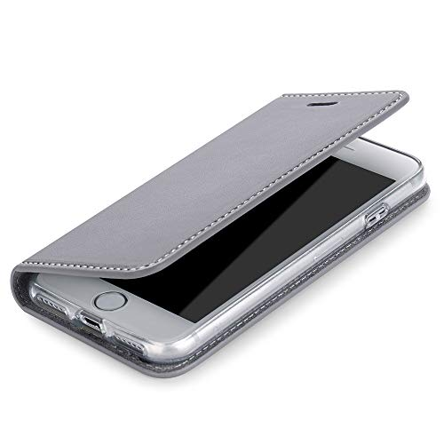 Wormcase Echt Ledertasche - für Apple iPhone SE (2020) iPhone 7/8 - Handytasche mit Kartenfach – Magnetverschluss - Grau – Leder Hülle kompatibel mit iPhone 7/8/SE2